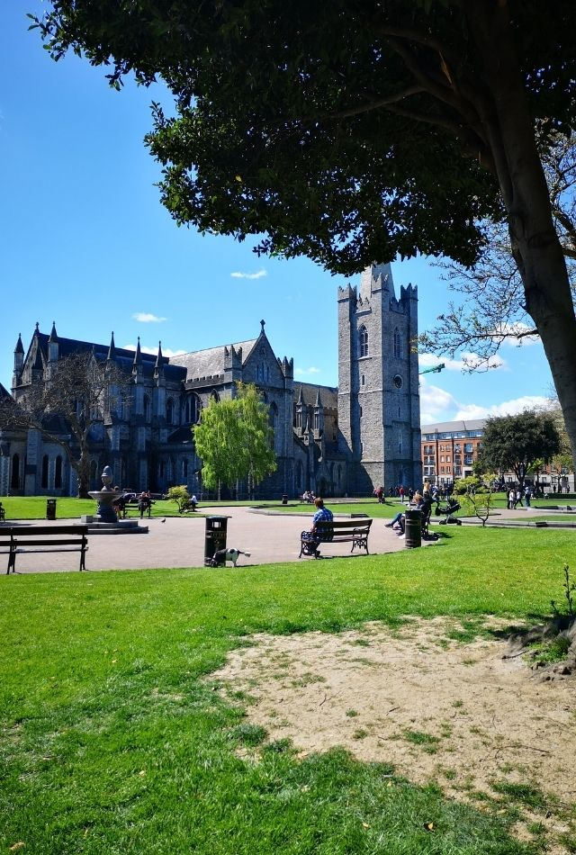 View of park outside St Patrick's Cathedral in Dublin, Ireland