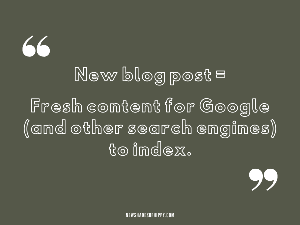 "Quote on dark green background: ""New blog post = Fresh content for Google and other search engines to index."""