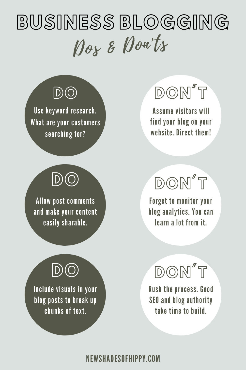 Green infographic on business blogging dos and don'ts.
