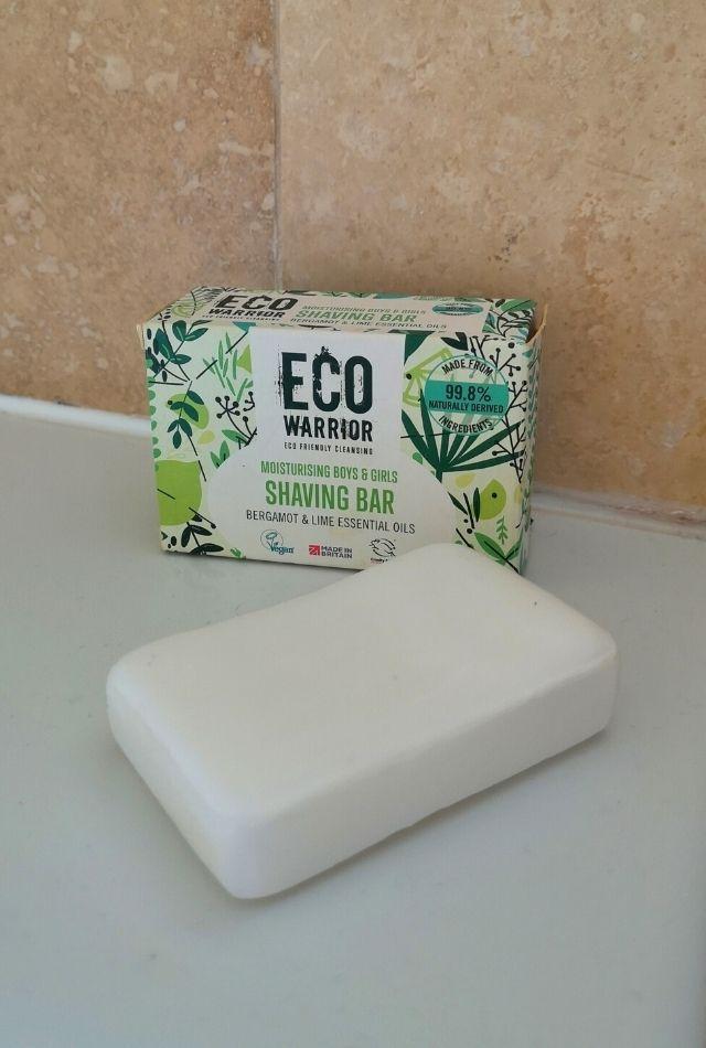 White shaving bar and Eco Warrior cardboard box on side of bath